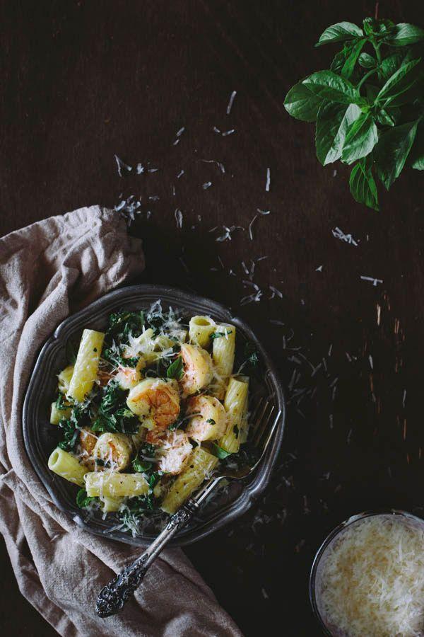 Roasted Shrimp and Kale Rigatoni with Lemon-Ricotta Sauce - Foolproof Living