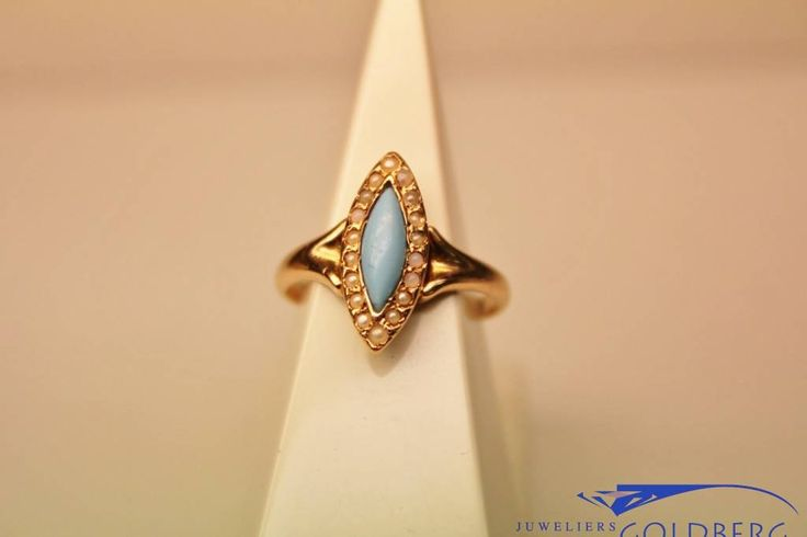 Unique vintage/antique 14 carat rose gold ring with turquoise and pearls. Only € 120! - Goldberg Juweliers http://www.goldbergjuweliers.nl/en/vintage-14-carat-rose-gold-ring-with-turquoise-an.html