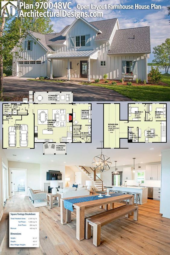 Plan 970048vc open layout farmhouse house plan upstairs for House plans with bonus room upstairs