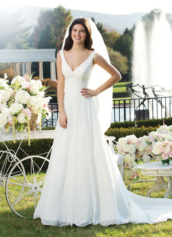 Sincerity wedding dress style 3751- Circular cut chiffon gown has a lace V neckline with a pleated chiffon  cummerbund. This gown has a sweep length train and chiffon buttons that  cover the back zipper.
