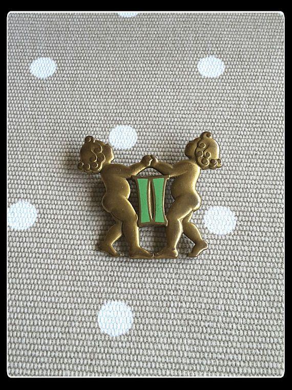 Vintage Gemini twins brass brooch