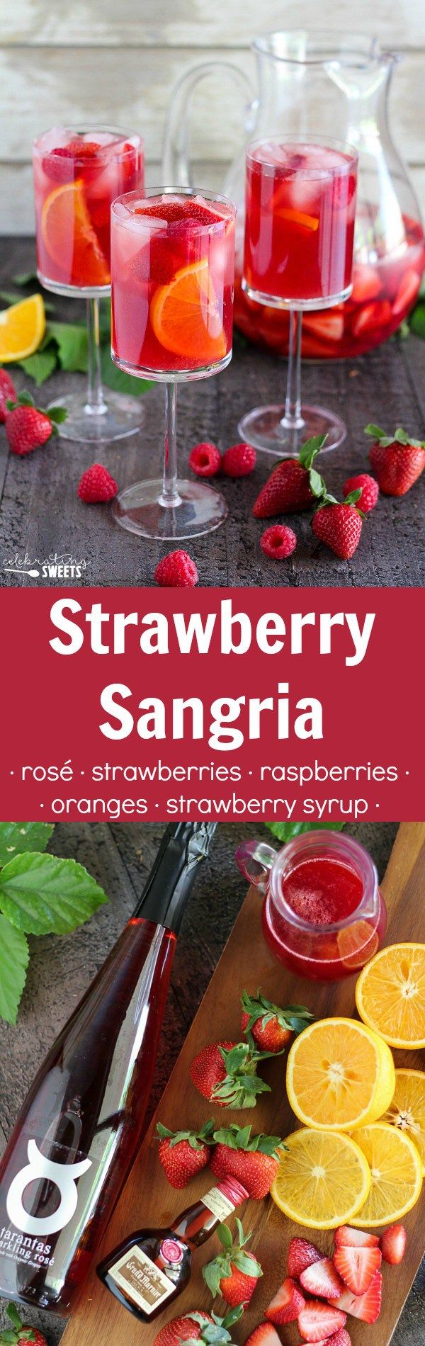Strawberry Sangria - White wine or rosé, flavored with fresh strawberries, raspberries, oranges, and homemade strawberry syrup. The perfect chilled cocktail for spring and summer.