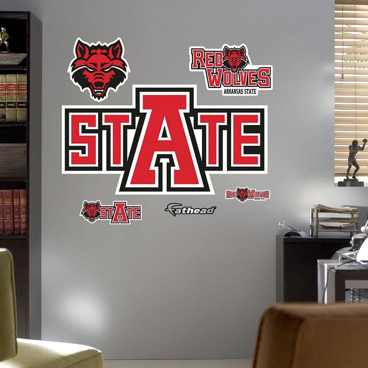 Fathead Arkansas State Red Wolves Logo Wall Decals, Multicolor