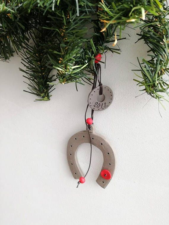 Horse shoe ceramic ornament stoneware high fire horse shoe