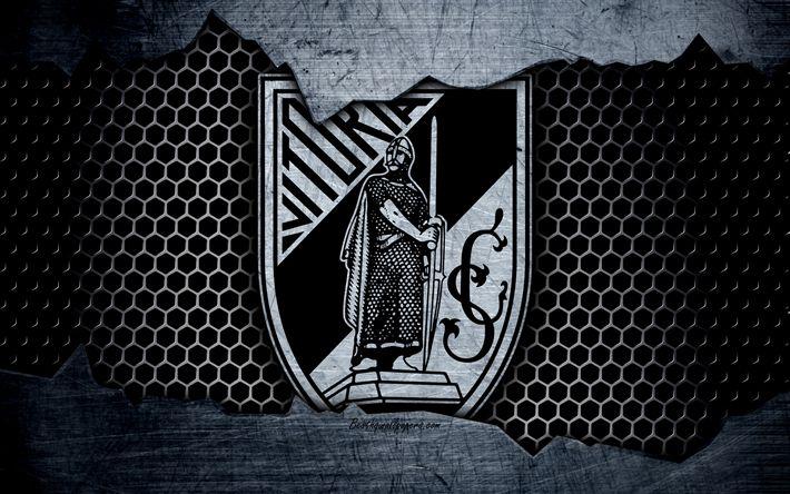 Herunterladen hintergrundbild vitoria guimaraes, fc, fußballverein, logo, emblem, guimaraes, portugal, fussball, champions, metall textur, grunge