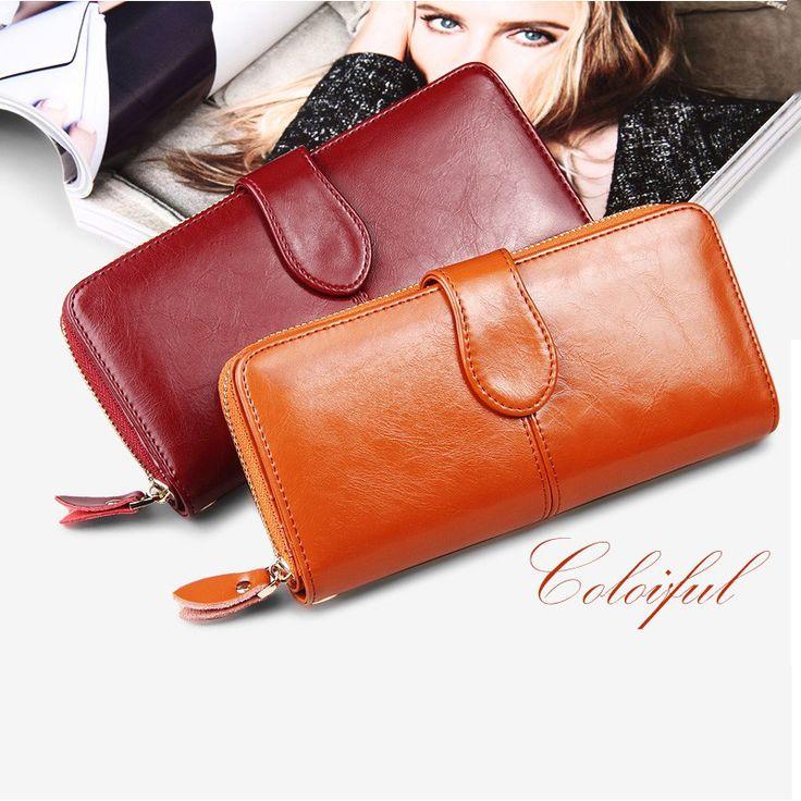 SENDEFN 100% Oil Wax Cowhide Leather Women Wallet Phone Pocket Purse Wallet Female Card Holder Lady Clutch Carteira Feminina #womanfashion #womenfashion #wallets