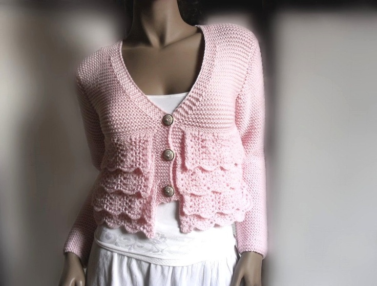 Lace Ruffle  Soft Pink Cardigan Sweater Romantic  Merino Extrafine or cotton Choose the Color. 275.00, via Etsy.