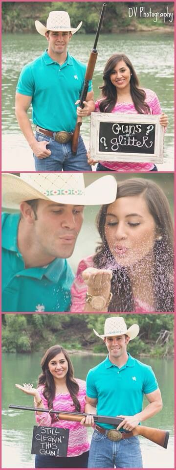 Buck or doe, guns or glitter, country baby girl gender reveal