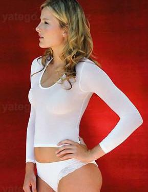 T Shirt durchsichtig Langarm    €24.95 EUR    <2>Langarmshirt  T-Shirt, durchscheinend, Multi Mikrofaser (Nylon), ultraweich, transparent – 40 den, wie eine Strumpfhose für den Oberkörper    Größe: XS – Small – Medium – Large (36 – 38 – 40 – 42 – 44),    Farbe: Weiss