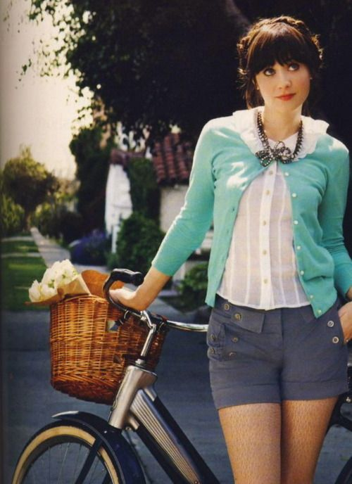 What a doll.: Fashion, Bike, Girl Crushes, Style, Outfit, Zooey Deschanel, Zooeydeschanel, Hair, Bicycle