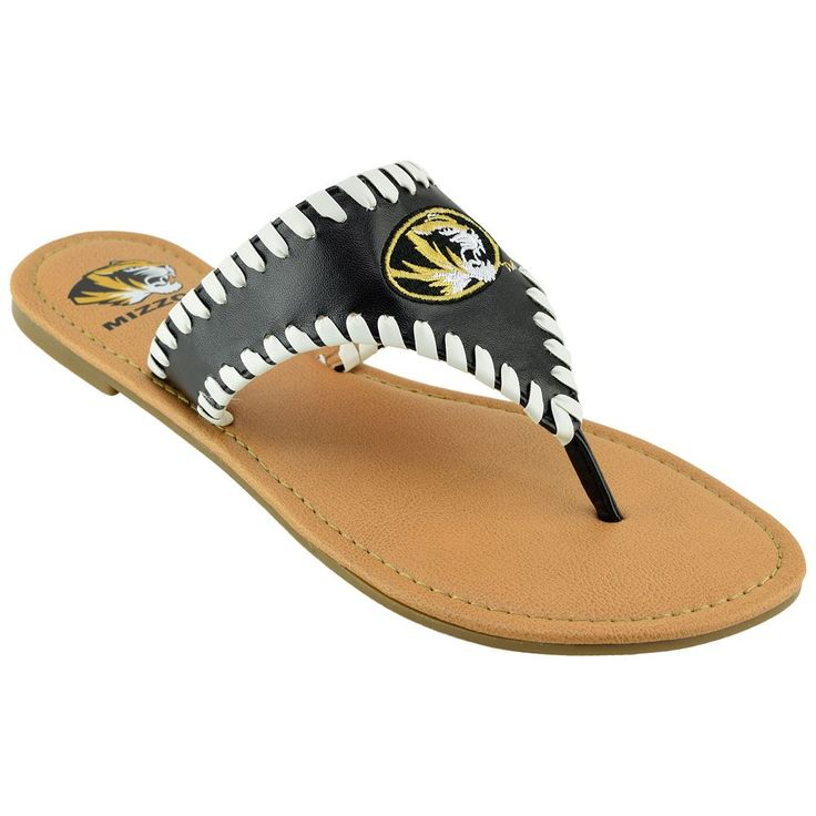 Women's Missouri Tigers Stitched Flip-Flops, Size: 10, Black