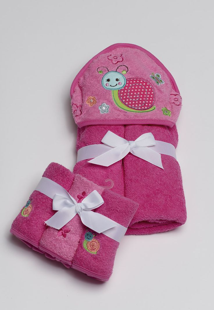 Pink 'Snail embroidered' face washer pack. Part of the kids towels range from pilbeam.com.au