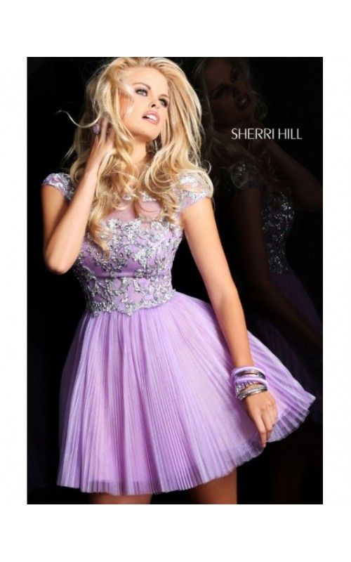 Cheap A-Line Appliqued Homecoming Prom Dress by Sherri Hill 21032 LilacOutlet