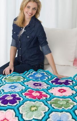 Posey Throw Crochet Pattern: Crochet Blankets, Crochet Afghans, Free Pattern, Free Crochet, Red Heart, Crochet Throw, Posey Throw, Crochet Patterns, Crochet Flowers Patterns
