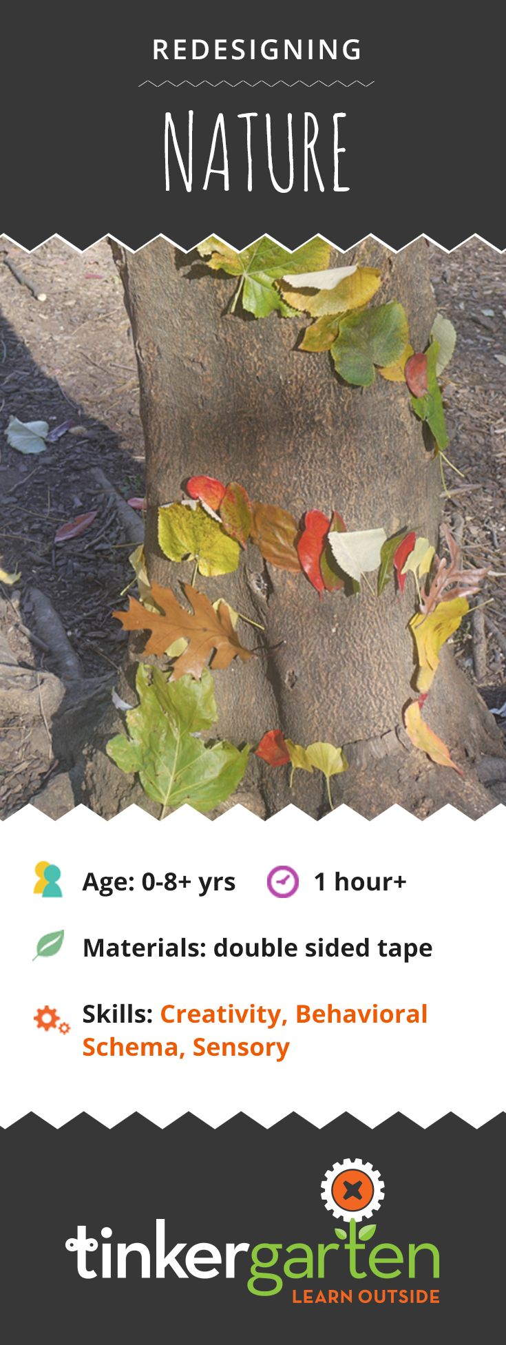 Take inspiration from land artist, Andy Goldsworthy, and give kids the chance to take nature's endless art supplies and develop a sense of design. Sounds challenging? All you need is double-sided tape, time and the right nature treasures lying about. Click through to learn how!