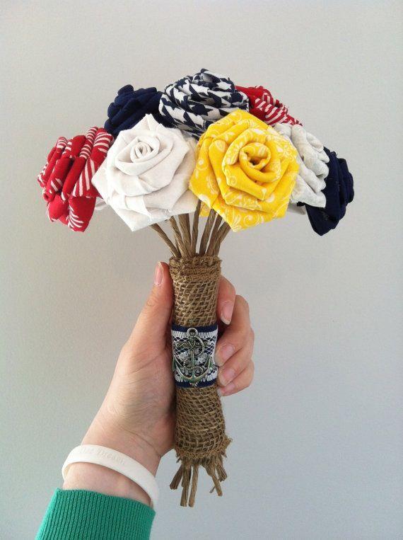 Items Similar To Nautical Fabric Wedding Bouquet On Etsy