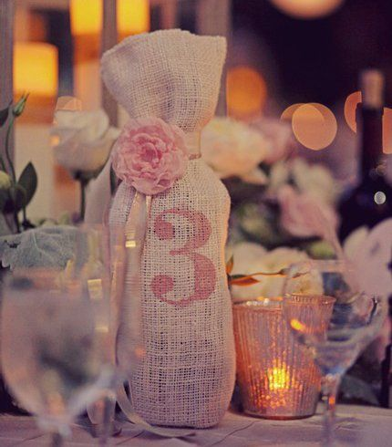 custom burlap wine bag, rustic burlap table number, summer wedding inspiration 2014