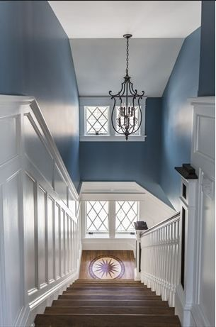 Buck Custom Homes-79 Morningside Ocean City 10 - check out this fabulous stairway with the compass rose on the landing!