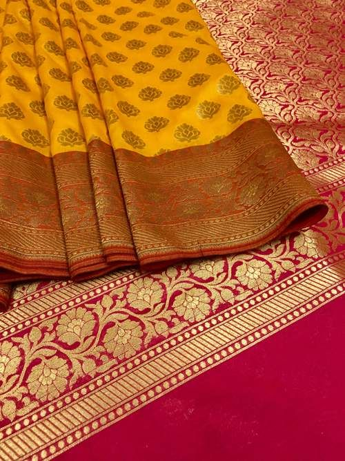 0108713a4af732 Golden Yellow and Hot Pink Combination Chanderi Banarasi Saree ...