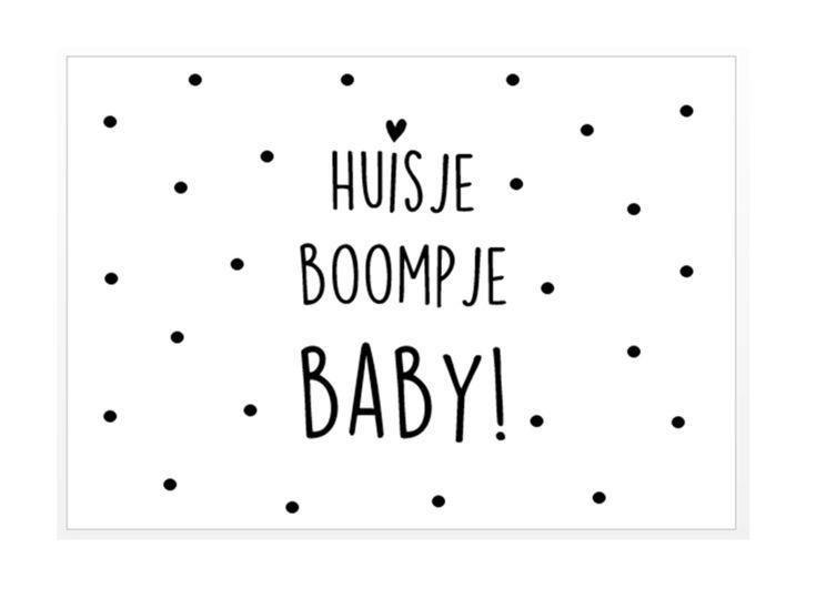 Kaart Huisje boompje baby Leuke zwart-wit ansichtkaart met tekst Huisje boompje baby.