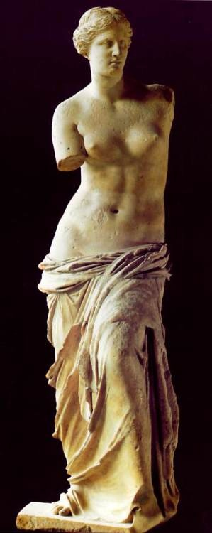 Venus de Milo ~ Louvre, Paris by ALEXANDER OF ANTIOCH ON THE MEANDER 150-125 BCE from Melos, Greece; eroticism of the nude female form