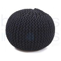 Luxury Black Hand Knitted Pouf.