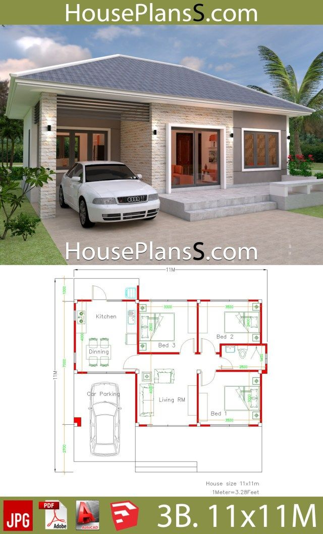 Simple House Design Plans 11x11 With 3 Bedrooms Full Plans In 2020