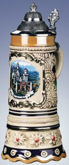 Edelweiss Musical Neuschwanstein German Beer Stein - Authentic Beer Steins from Germany -Wanted by both of us