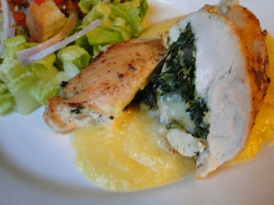 Spinach, Cheese, and Onion Stuffed Chicken Breast