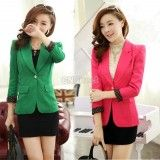 2014 Women's Lapel One Button Short Suit Jacket Coat Casual Long Sleeve Slim Fit Blazer Outerwear Tops, http://www.shopcost.co.uk/