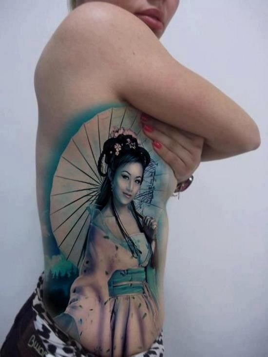 Fantastic geisha tattoo - love the color & detail