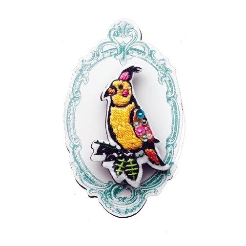 オカメインコ刺繍ブローチ