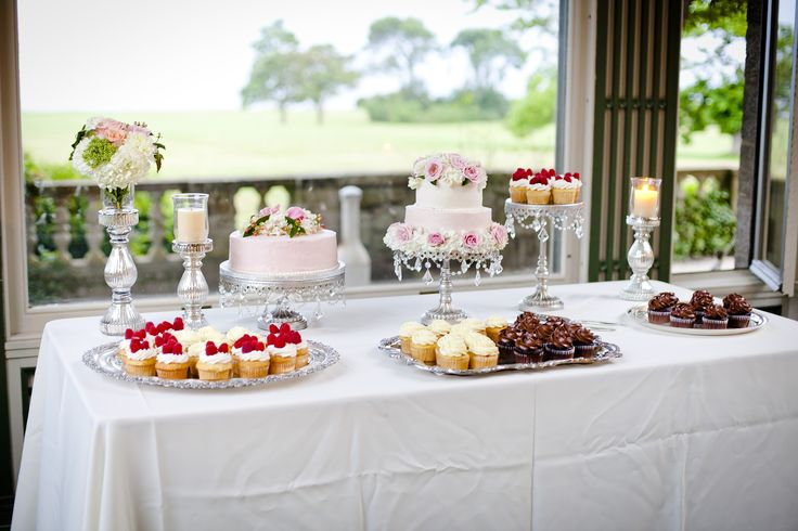 Dessert Table at Eolia Mansion - Harkness Memorial State Park. Dessert's by Peter Gray (Pete's Sweets) from The Next Great Baker/Cake Boss. Blush and Ivory, Ombre Cake
