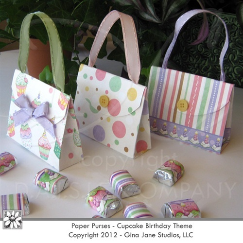 Candy Bar Wrappers - Nugget - Birthday, Cupcake Theme - Party Favor Purses - Paper Purses by Gina Jane