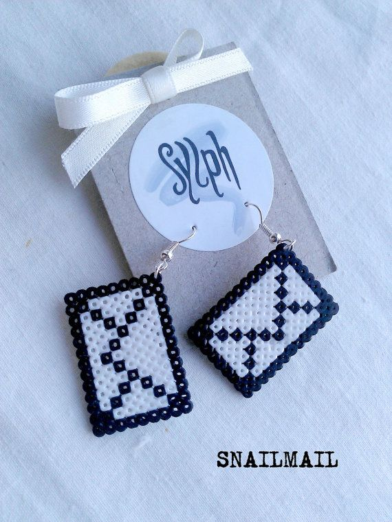 Earrings made of Hama Mini Beads Snailmail by SylphDesigns, €7.00