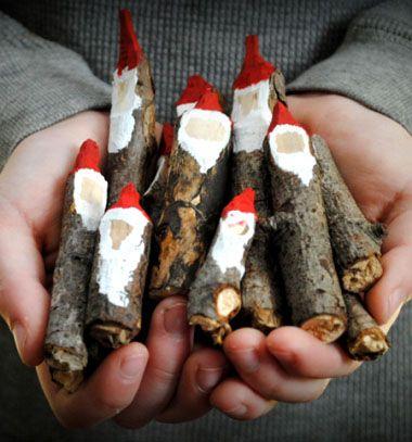 Carwed twig gnomes or santas / Mikulások faágakból / Mindy - craft tutorial collection
