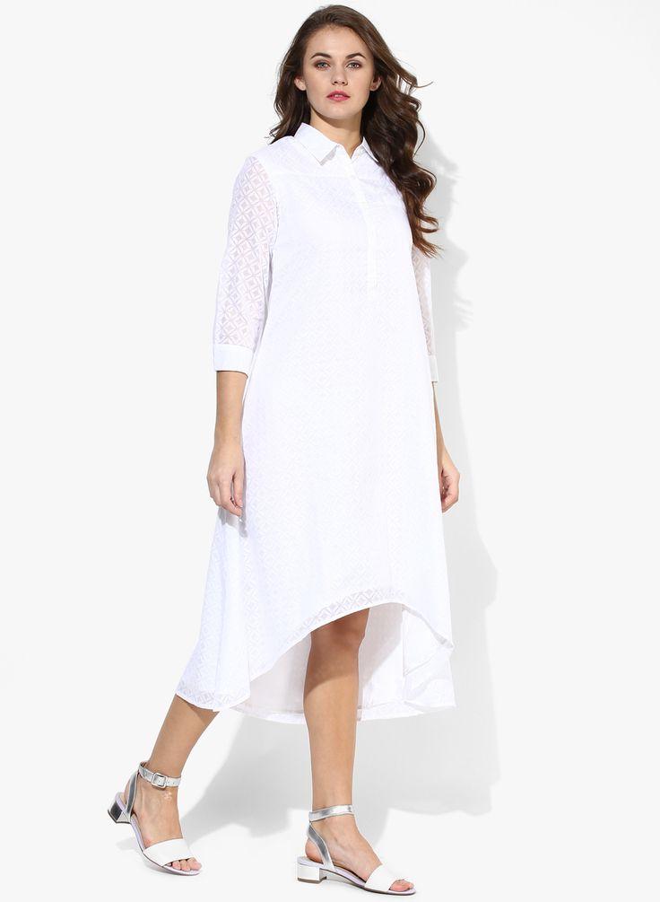 Buy Femella Front Ruffle Top For Women: Buy Femella White Colored Solid Shift Dress For Women