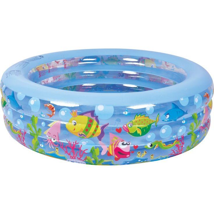 Familiezwembad rond aquarium 152  Rond familiezwembad. De 3 ringen hebben een print van dierenleven onder water. Gemaakt van 0.25 mm vinyl en incl. reparatiesetje. Watercapaciteit (75%): 343 liter. Leeftijd 6. Jr. Afmeting: 152 x 50 cm.  EUR 21.95  Meer informatie
