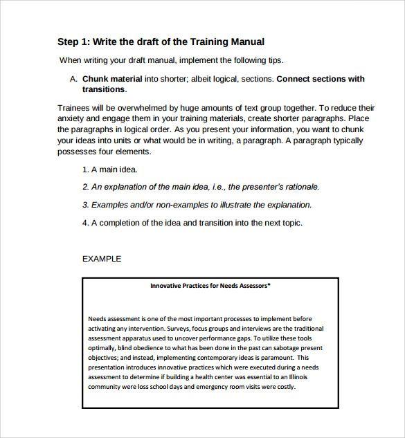 Sample Training Manual Template Example Business Mentor Sample