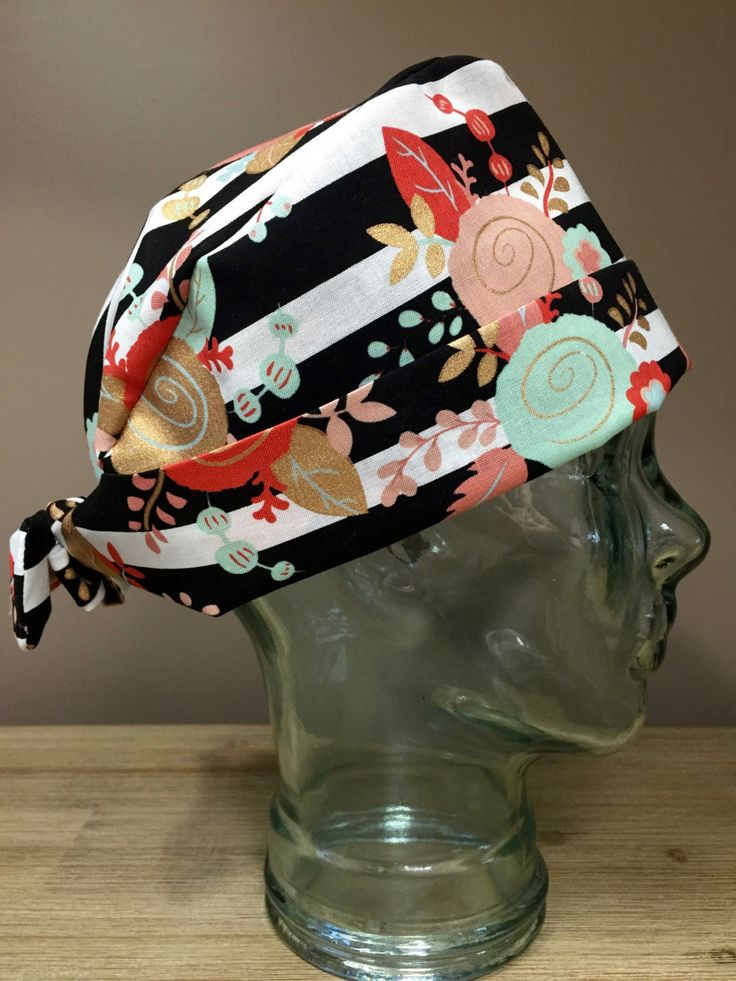 Custom Caps Company Mint, Coral & Gold Flower Scrub Cap, Women's Rose Scrub Cap, Pixie Tie Back Surgical Hat by CustomCapsCompany on Etsy