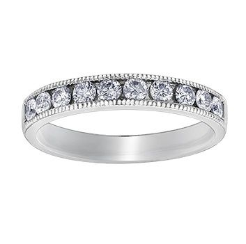 Buy White Gold Diamond Band with Milligrain Edges Online In Canada