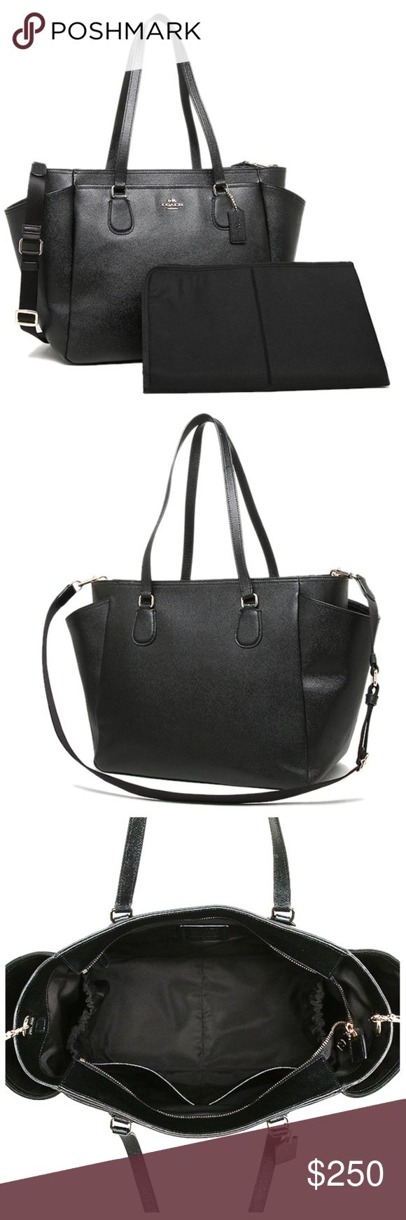 """NEW COACH BLACK CROSSGRAIN LEATHER DIAPER BABY BAG NEW COACH BLACK MULTIFUNCTION CROSSGRAIN LEATHER  DIAPER BABY BAG  F57786 Black Brand New with Tags  100% Authentic - Will ship in gift box with gift receipt   size : 17"""" (L) X 11 """" (H) 7 """" (W) 2 Large Zip Pocket 2 Large Slip Pockets 2 Bottle Holder Pockets CHANGING PAD (25"""" X 17"""") Coach Bags Baby Bags"""