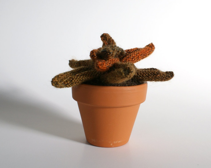 Knitted Plant with Orange and Green Leaves. $42.00, via Etsy.