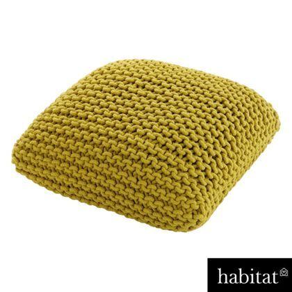 Habitat - Knot Floor Cushion Yellow Small
