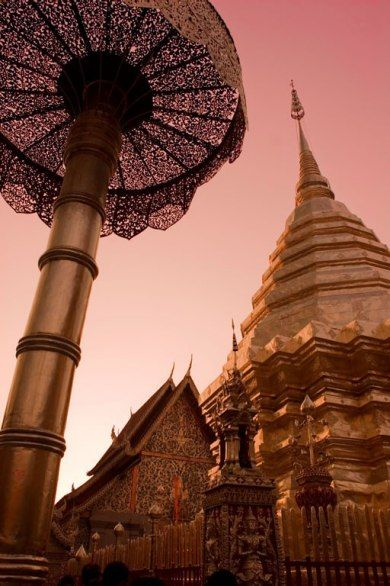Wat Phrathat - a 30 minute drive outside Chiang Mai atop Suthep Mountain - take the 304 step staircase to watch the sunset