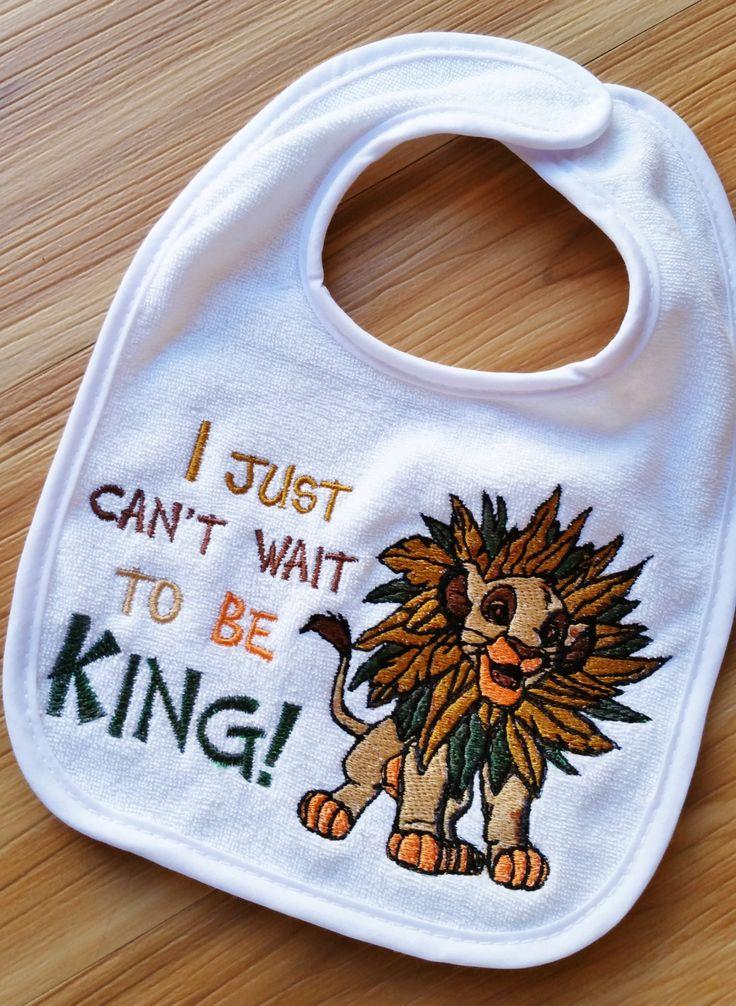 "INFANT Baby BIB ~ ""I just can't wail to be KING!"" ~ Simba Lion King ""Circle of Life"" Disney White Cotton Bib by GumballsOnline on Etsy"