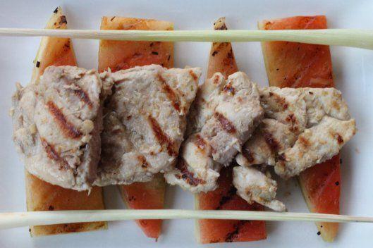Pollo al lemongrass y corteza de sandía - cenital