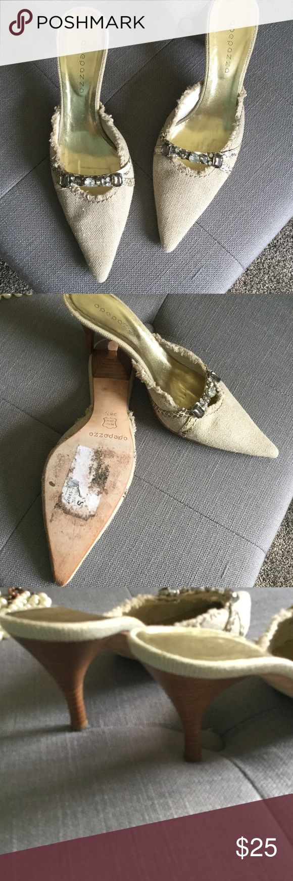 Sparkly mules. Super cute pointy mules. Tan colored with jewels on top. Straps are animal print. About 2 1/2 inches high. Size 38 1/2, which is size 8 1/2. Dress up or down you can't go wrong.worn a handful of times. Apepazza Shoes Heels