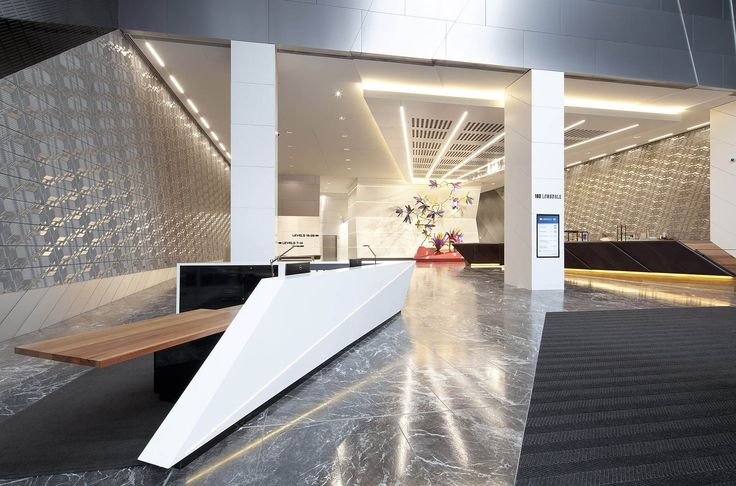180 Lonsdale Street by Gray Puksand  Winner Edition 2, Project Category, Corian Design Awards 2016.  Colour: Glacier White  Applicaiton: Café Breakout Top Joinery Café Counter Concierge Desk Lift Core Rear Entry