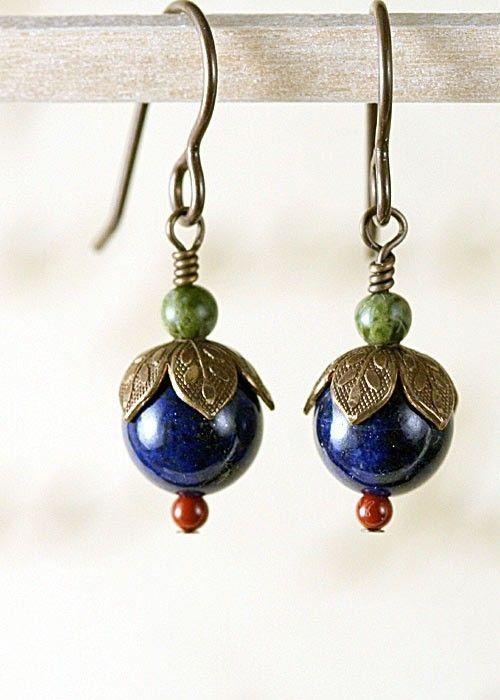 lapis lazuli earrings  sweet flower buds  blue by RockCity on Etsy, $27.00